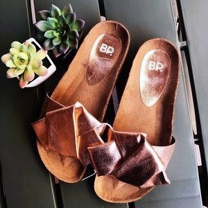 NWOT BP. Rose Gold Slide Sandals